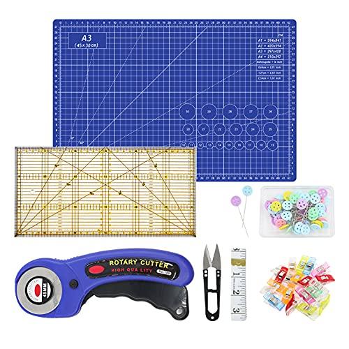 Quanerba Kit de Tapete de Corte A3, 45 mm Cúter Rotativo, 30cm Patchwork de Regla, 20*Clips de Costura, 50*Alfileres de Coser, Cinta Métrica, Tijeras de Costura