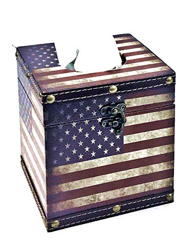 Bellaa 28298 American Flag Square Tissue Box Cover Vintage Patriotic Napkin Holder Paper Dispenser