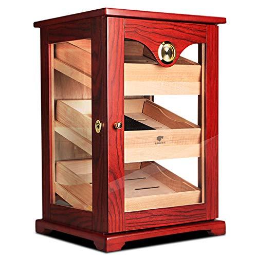 GFITNHSKI Humidor de cigarros, humidor de cigarro hecho a mano, humidor de escritorio con higrómetro y humidificador, caja de cigarros de alto brillo de cigarro, 100% de madera de cedro español real 1