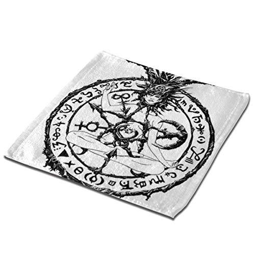 deyhfef Juego de 3 toallas de baño para baño, hotel, spa, cocina, multiusos con punta de los dedos y paños faciales, 33 x 33 cm, símbolo de Satán Malvado