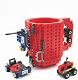 VANUODA Build-On Brick Mug,Funny Block Buddy Coffee Cup,Unique Valentines Father's day Birthday Present Christmas Gifts for Men Women Dad Mum Him Boy Girl Adult Kid Friend,Compatible with Lego(Red)