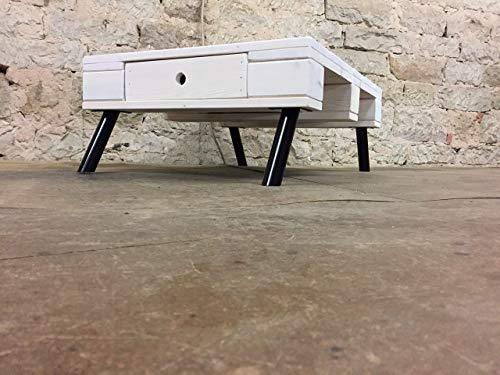 """Couchtisch Möbel Palettenmöbel """"Asti"""" aus Paletten mit Edelstahlfüßen und einer durchgehenden Schublade"""