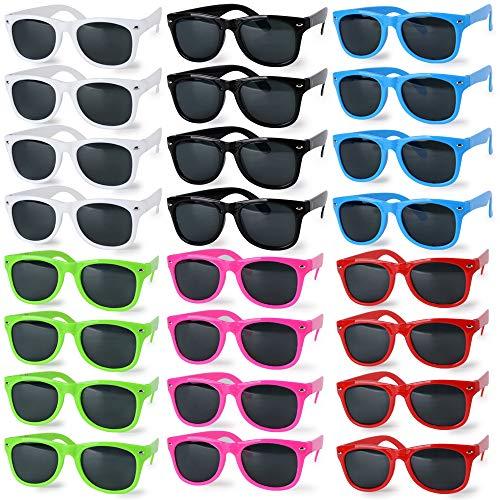 JNCH 24 Paar Neon Farben Party Sonnenbrille Set für Kinder Erwachsene Bunte Party Sonnenbrillen Damen Urlaub Festival Mehrfarbig