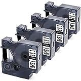 MarkField Cinta de vinilo Compatible para usar en lugar de Dymo Rhino S0718600 ID1 18444 12mm para Rhino 4200 5000 1000 3000 5200 6000, color negro y blanco