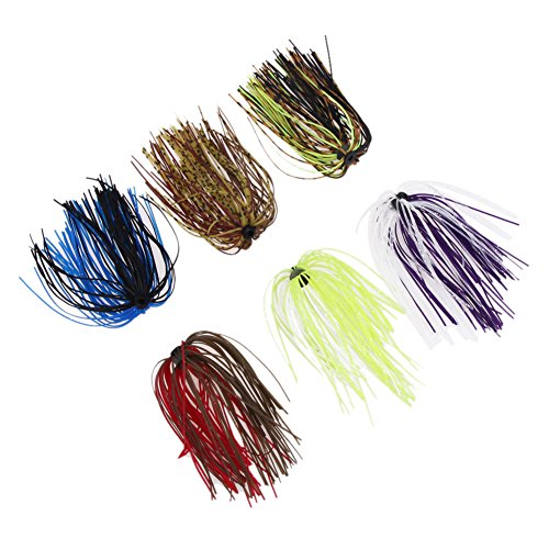 Alloet Silicone Jig Skirts DIY Rubber Fishing Jig Lures 6 Bundles 50 Strands Fishing Bait Accessories Squid Skirt Replacement Part, Mixed Color