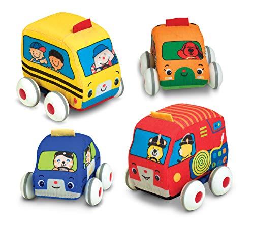Melissa & Doug K's Kids autoset met terugtrekveer - zachte speelgoedset voor baby's met 4 auto's en vrachtwagens en koffer (4-delig)