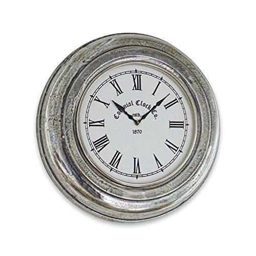 Loberon Uhr Brampton, Aluminiumguss, Glas, T/Ø ca. 8/41 cm, antiksilber