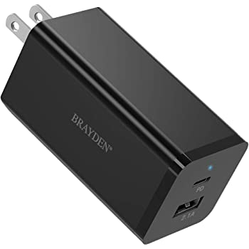 """66W USB C Charger, BRAYDEN [GaN Tech] USB-C PD 3.0 Dual Port Charge Power Foldable Adapter, Fast Type C Charger for MacBook Pro Air 13"""" 15"""", iPhone 11 Pro Max SE, Google Pixel 4 3 XL, Laptop, Switch"""