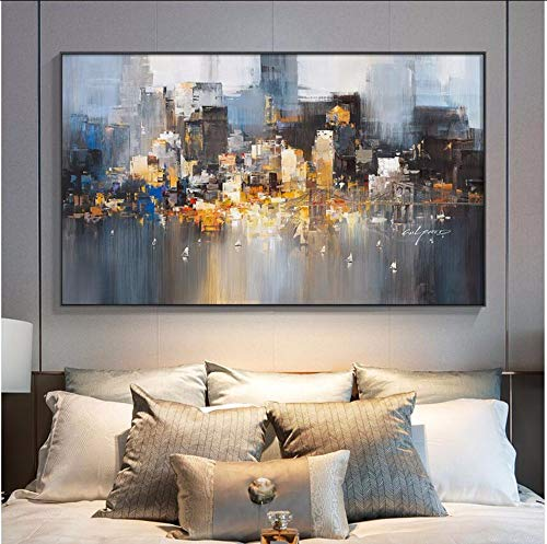 WSTDSM 1 Modern Dawn Brilliant City Light Canvas Canvas Poster and Print Arte De La Pared Imágenes para La Sala De Estar Dormitorio Pasillo Decoración De Moda Sin Marco 80X120Cm A
