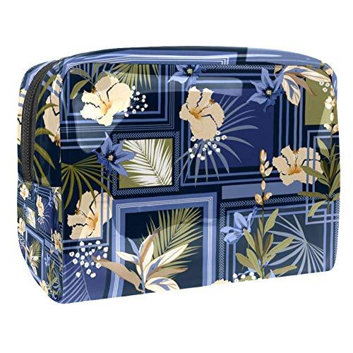 TIZORAX Trousse de maquillage en PVC avec motif fleur et feuilles carrées Bleu