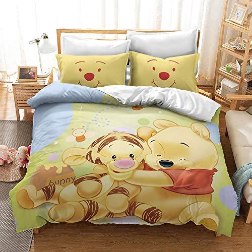 DFTY Winnie Pooh Juego de ropa de cama infantil, reversible, funda de edredón + funda de almohada, con cremallera, microfibra, impresión digital 3D, multicolor, 16, 140*210CM