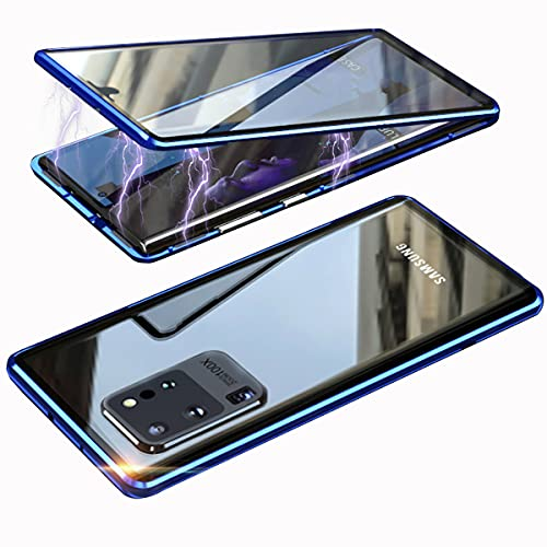 Handyhülle für Samsung Galaxy S20 Ultra 5G Hülle,Magnetische Adsorption 360° Stoßfest Kompletteschut Hülle,Vordere hintere Gehärtetes Glas Dünne Metallrahmen Schutzhülle mit Kameralinseschutz,Blau