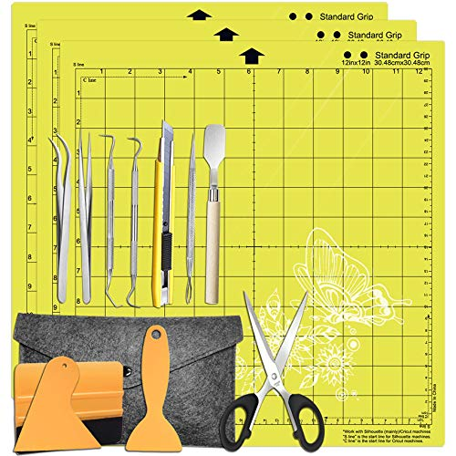 HIRALIY Weeding Tools for Vinyl Weeding Kits Plus StandardGrip Cutting mat 12x12' 3 Pack Compatible with Cricut, Silhouette Accessories