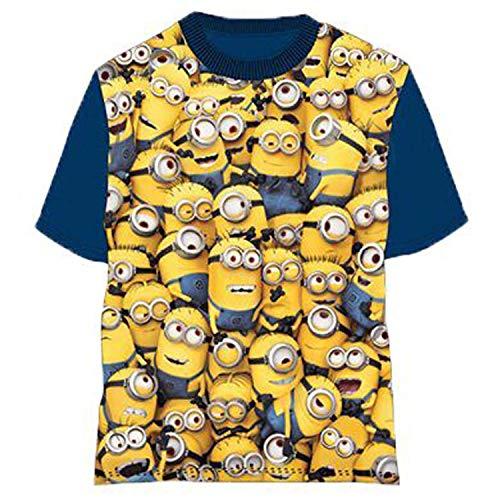 MINIONS T-Shirt für Kinder und Mädchen einfach unverbesserlich Blaue Ärmelbande 6 Jahre in Baumwolle mit Universal-Lizenz. (6 Jahre 114 cm)