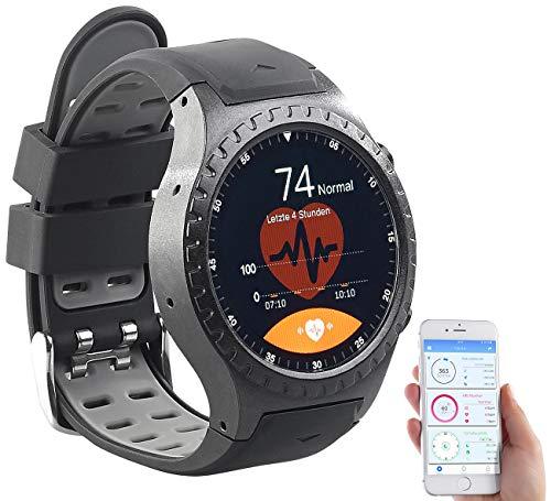 Newgen Medicals Smartwatch SIM GPS: GPS-Handy-Uhr & Smartwatch für iOS & Android, Bluetooth, Herzfrequenz (Handyuhren)