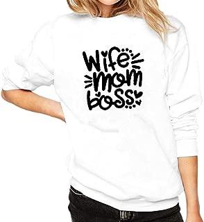 Aunimeifly Women's Winter Sweatshirt Letter Printing Blouse Round Neck Pullover Long Sleeve Tops Loose Plus Velvet Blouses