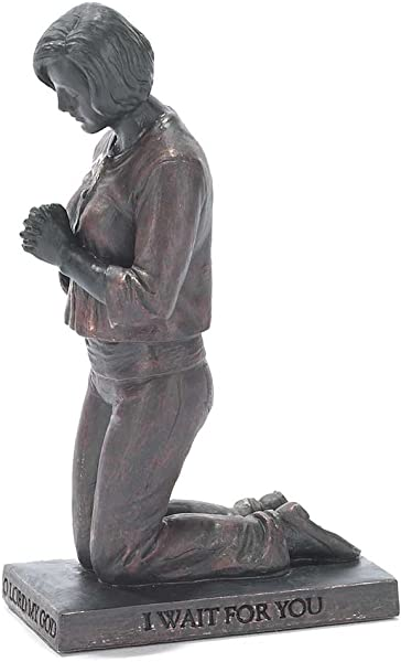Dicksons Oh Lord I Wait Praying Woman 5 Inch Gray Resin Stone Table Top Figurine
