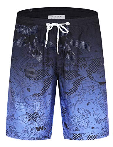 APTRO Men's Swim Trunks Long Palm Board Shorts Beach Swimwear HWP023 Purple Blue 2X