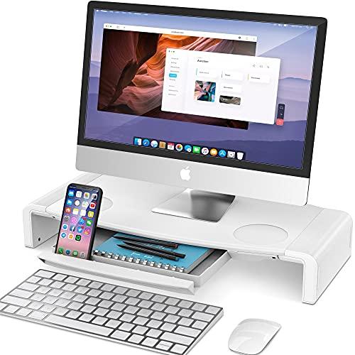 AboveTEK Monitor Stand, Elevador Monitor, Soporte para Computadora, Estante de Escritorio con Cajón de Almacenamiento, Soporte para Teléfono para Computadora /escritorio/Ahorro de Espacio/TV
