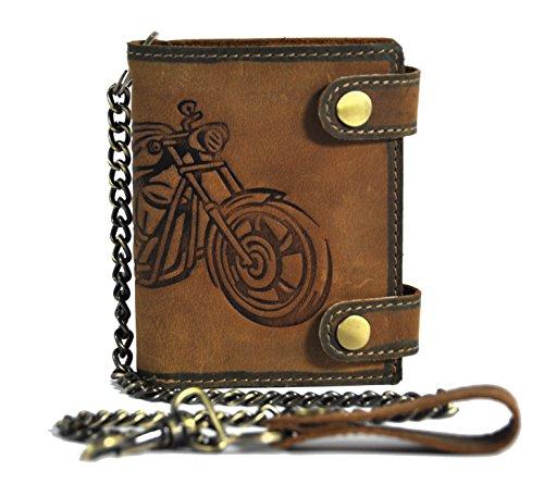 echt Leder Biker Geldbörse mit Kette & RFID Schutz naturbelassenes Hunterleder Portemonnaie Motorrad