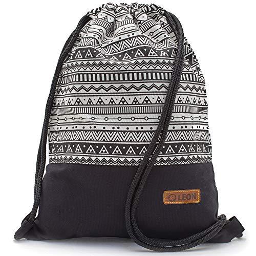 By Bers LEON Turnbeutel mit Innentaschen in Schwarz-Weiß Rucksack Tasche Damen Herren & Teenager Gym Bag Draw String (Indio2_SW)