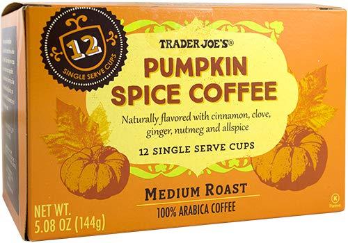 Trader Joe's Pumpkin Spice Medium Roast Coffee, Box of 12 Single Serve Cups