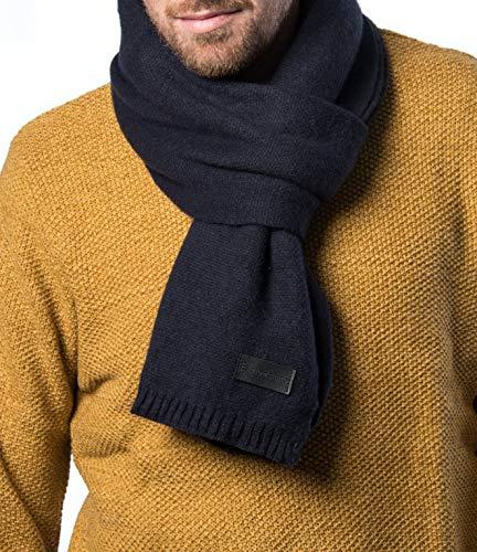 Mio Marino Winter Scarf for Men, Soft Knit Scarve, in an Elegant Gift Box - Navy & Black