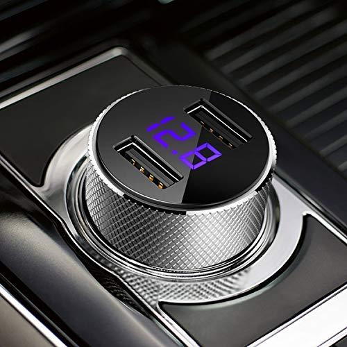 FEIGO Universele Autolader, 12W/2.4A USB Autolader inclusief LED Sigarettenaansteker met 2 USB Poorten voor Phone, Samsung, HTC, Sony en Nokia Car Charger Oplader