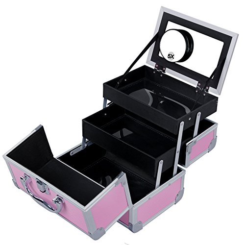 SONGMICS Portable Makeup Train Case Mini Alumi Cosmetic Organizer Box with Mirror 2 Trays Pink UMUC11P