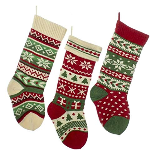 Kurt Adler Heavy Knit Snowflake and Chrismas Tree Stocking - 3 Assorted