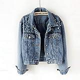 Txrh Ocio Perla y acc Cazadoras Vaqueros de Cultivos for las mujeres 5Xl Casual Jeans chaqueta de bombardero...