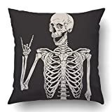 Emvency Pillow Covers Decorative Human Skeleton Posing Isolated Over Black Bulk with Zippered 16x16 Square Pillow Case for Home Bed Couch Sofa Car One Sided