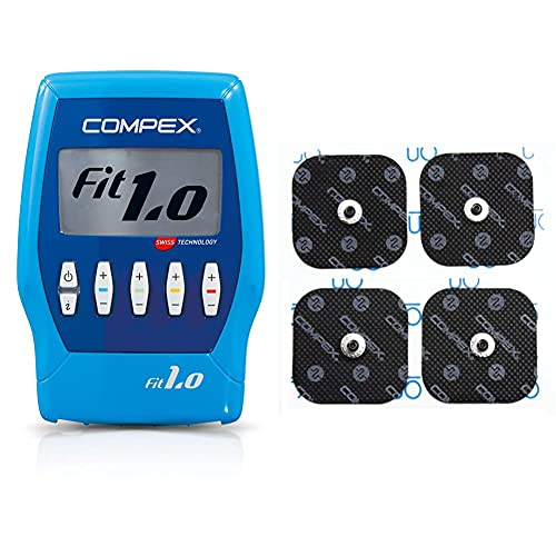 Compex Fit 1.0 Elettrostimolatore, Blu & Cefarcompex - Elettrodi Performance Snap 5X5 Cm