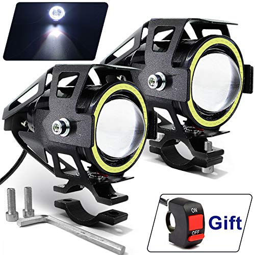 Motorcycle Headlight Cree U7 LED Fog Lights Spotlight Daytime Running Lights with White Angel Eyes Halo Ring and Switch 2-Sets