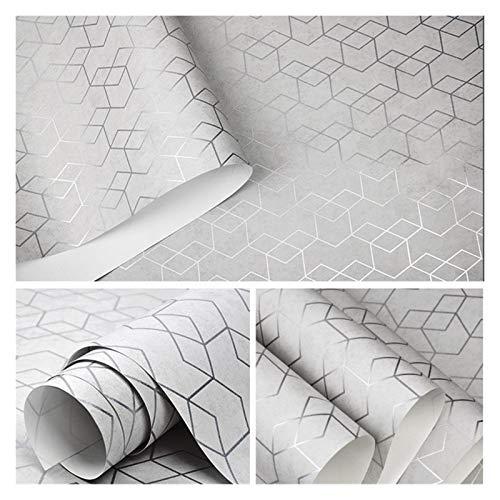 WHYBH HYCSP Dunkelgrau Geometrische Tapete Rolle Schwarz Grau Wand-Papier Modernes Design Schlafzimmer Wohnzimmer Hintergrund Hauptwanddekor (Color : P02204, Size : 10mx53cm)