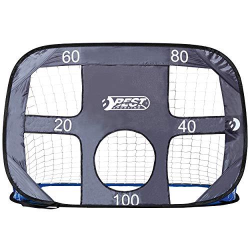 Best Sporting Unisex młodzieżowa bramka do piłki nożnej Pop up dla dzieci, 2 w 1, niebiesko-szara ze ścianką bramki, w zestawie torba do noszenia i śledzie, kolor, wzór 1