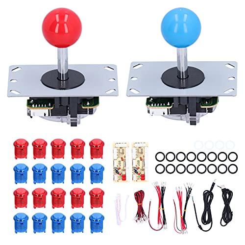 Kits de Bricolaje para Juegos de Arcade LED, Joystick y Botones de Arcade iluminados por LED para 2 Jugadores, Joystick de 5 Pines y 8 vías, codificador USB para Controlador de Juegos (R + B)