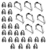 SecureLine 7300 Cable/Rope Thimble & Clamp Set 1/8-Inch (8-Pack)