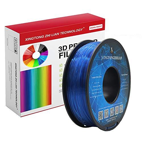 Filamento PLA 1,75 mm, Filamento PLA con effetto metallizzato, trasparente, legno, seta, marmo, per stampante 3D e penna 3D, Precisione dimensionale +/- 0,02 mm, bobina da 1 kg(Attraverso azzurro)