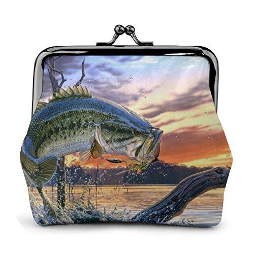 Big Fish PU Cartera de Cuero con Hebilla Exquisita Monedero Vintage Bolso clásico Cambio de Beso Cerradura Monedero Carteras Regalo