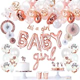 VIDAL CRAFTS Rose Gold Baby Shower Decorations for Girl, It's a Girl Banner, BABY Girl Foil Balloons, 36 Pieces Balloon Arch, Confetti Balloons, Paper Fans, Rose Gold and White Theme Decor