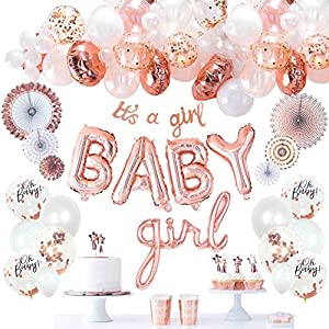 """BABY SHOWER PARTY DECORATIONS - celebrate your sweet baby's upcoming arrival with a royal rose gold BABY SHOWER; this classy set contains everything a mom needs to welcome her princess or twin babies at home: 36 pieces balloons garland, 1 set """"BABY g..."""