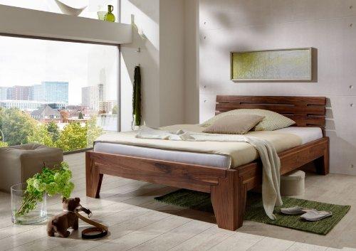 DaMi Holzbett Stella - Massivholzbett in Nussbaum (Geölt) Mit Kopfteil - Durchgehende Lamellen - Doppelbett, 200 x 200