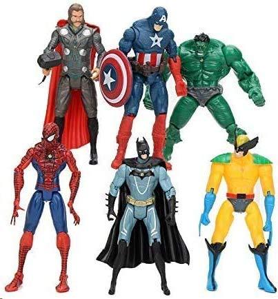 Super Hero Adventures Figures Set of 6 PCS   Action Figure Set   Includes Batman, Hulk, Superman, Thor, Ironman & Captain America   PVC Figure Toy Dolls Legends Collectible Model