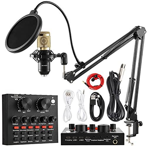 Kondensatormikrofon-Set, BM-800 Mikrofon-Kit mit Live-Soundkarte, verstellbarer Mikrofonaufhängung, Metallstoßhalterung und doppelschichtiger Pop-Filter für Studio-Aufnahmen und Rundfunk (Gold)