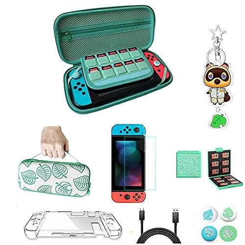 10 In 1 Tragetasche für Nintendo Switch,Nintendo Switch Zubehor Case Kit mit Zubehör Aufbewahrungshülle mit Griff and Switch Speicherkarten Schutzbox