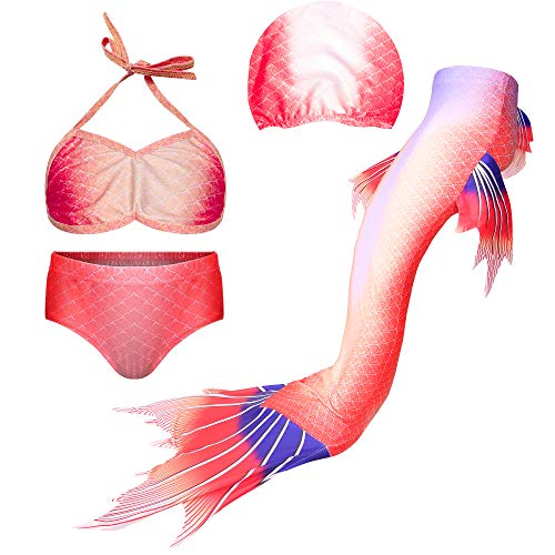 NA Juego de 4 piezas de traje de baño para niñas con cola de sirena para nadar, traje de baño, traje de baño, traje de baño, traje de baño, traje de baño, traje de baño, traje de baño