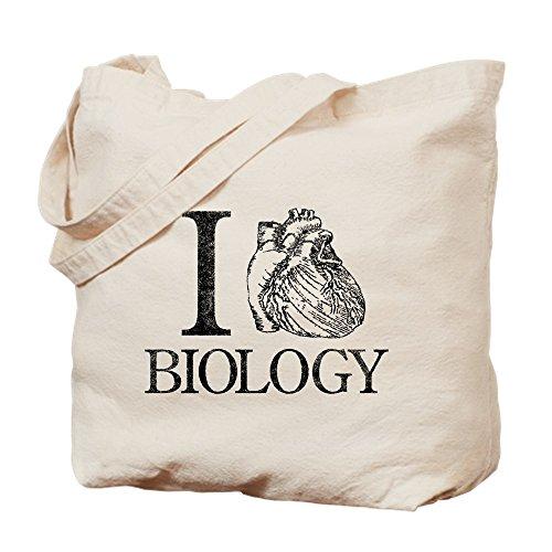 CafePress I Heart Biology Natural Canvas Tote Bag, Reusable Shopping Bag