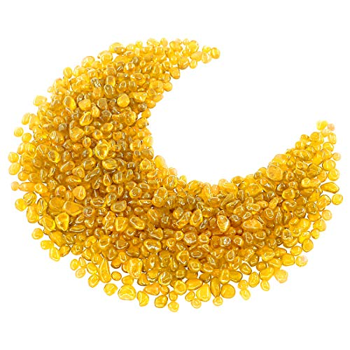 Hilitchi Glass Stones Non-Toxic Beautiful Smooth Vibrant Colors Vase Filler, Table Scatter, Aquarium Fillers, Gems Displaying, Gem Glass Confetti [Yellow Aprox. 1lb(455g)/Bag]