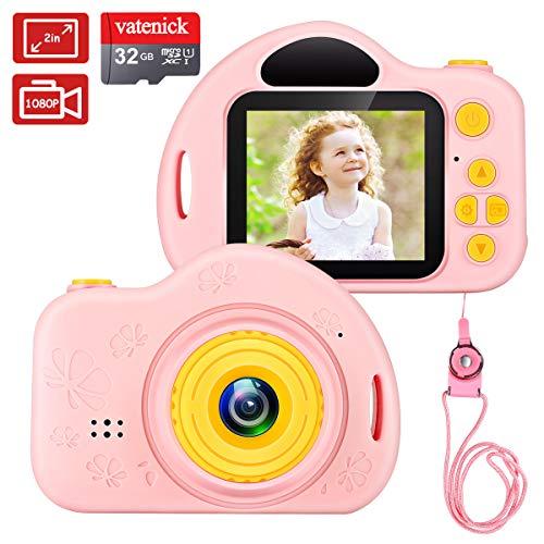 Kinder Digital Kamera Spielzeug Mädchen Jungen Geschenke Videorecorder Stoßfest 2 Zoll HD-Bildschirm 1080P mit 32 GB TF-Karte Geburtstag Geschenke Spielzeug für 3 bis 12 Jahre (rosa) …